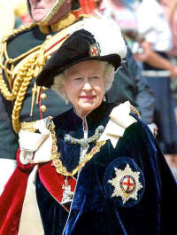 The Queen, in regaia of the Order of the Garter
